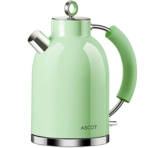 Wasserkocher Edelstahl, ASCOT Elektrischer Wasserkessel, 2200 W, 1,6 liter, Retro Design, kabelloser Teekocher, BPA frei, Trockengehschutz, automatische Abschaltung, (Grün)