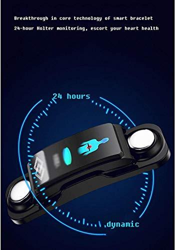 Pulsera inteligente con detección de ECG, frecuencia cardíaca, monitoreo de presión arterial, llamada Bluetooth, pulsera deportiva (color: naranja) - negro