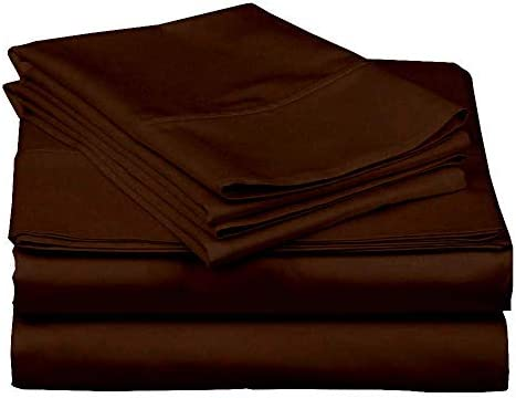 """4 Piece Bamboo Sheets, 800 Thread Count 100% Rayon from Bamboo Cotton Sheet Set, Ultra-Soft Luxury Sheets fits Upto 15"""" deep Pocket Mattress King, Chocolate Solid"""