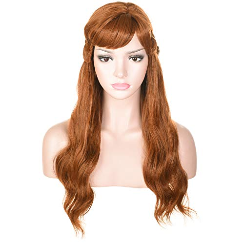Morvally Long Wavy Brown Natural Synthetic Hair Braided Wigs for Women Halloween, Cosplay, Costume, Party