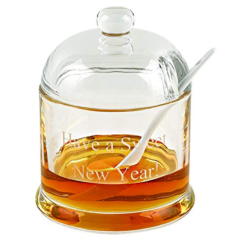 Badash Have a Sweet New Year Jam, Honey or Condiment 5.25' x 3.25 Glass Jar with Ceramic Spoon