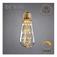 LWF-LED電球 10パック - クリエイティブ星空ST64ランプバルブ、3W LEDウィックE26 / E27ランプホルダー、休日の結婚式のお祝い屋内屋外の庭の装飾 (Color : E26-110V)