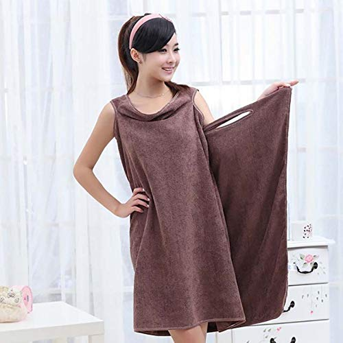 Ysoom Albornoz grande para mujer, vestido largo de playa, vestido cambiador, albornoz, toalla de mano, viaje, spa, natación, toallas de microfibra marrón marrón