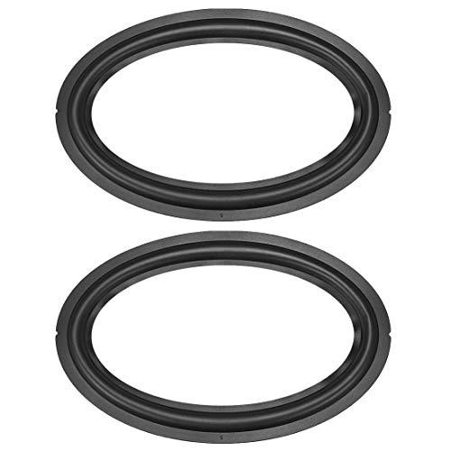 DyniLao 6 x 9 pulgadas altavoz borde de goma borde elíptico anillo plegable piezas de repuesto para altavoz negro 2 piezas