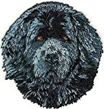 VirVenture 2' x 2 1/4' Newfoundland Head Portrait Dog Breed Embroidery Patch Great for Hats, Backpacks, and Jackets.