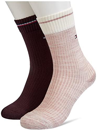 Tommy Hilfiger Rib Runfree Women's Socks Calcetín de tripulación, Taupe, 39 Regular para Mujer