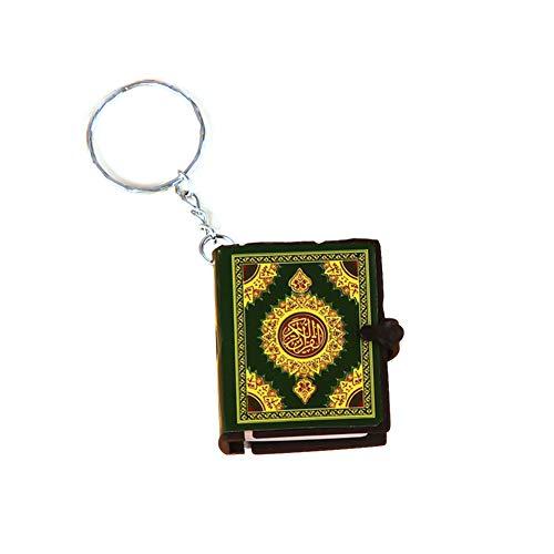 Huangzhiping 1 Stück Mini Islam Arche Koran Buch echtes Papier arabisch der Koran Schlüsselanhänger Muslim Schlüsselanhänger Schmuck, Papier, grün