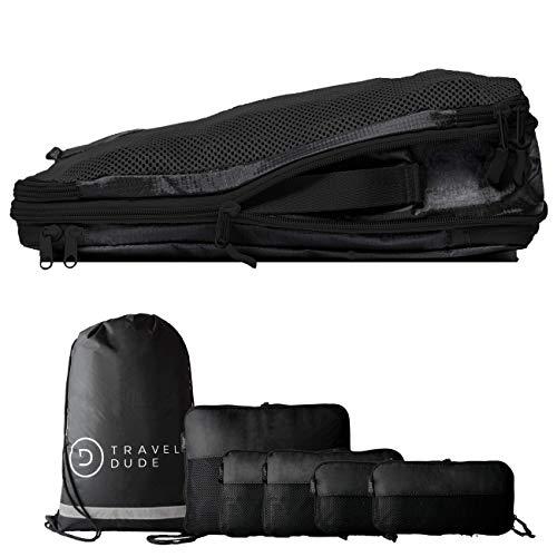 TRAVEL DUDE Packwürfel Set mit Kompression | Packing Cubes | Packtaschen Set & Gepäck Organizer für Rucksack & Koffer | Extra leichte Kleidertaschen | Schwarz, 7-teilig