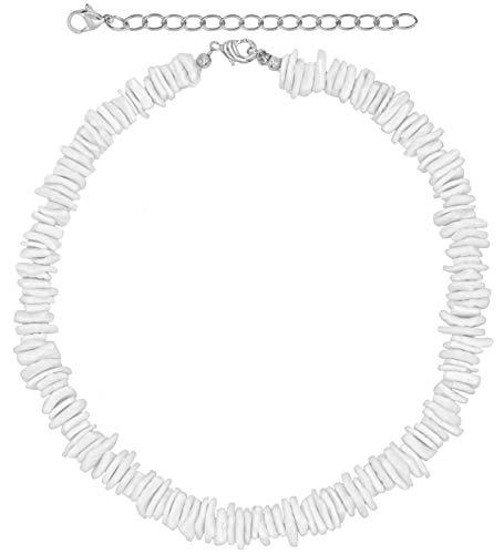 "18"" White Puka Shell Neckace, Hawaiian Style Clam Chip Surfer Necklace for Men and Women, Trendy Summer Shell Necklace Choker for Men and Women, Seashell Beaded VSCO Beach Choker (White-18"")"