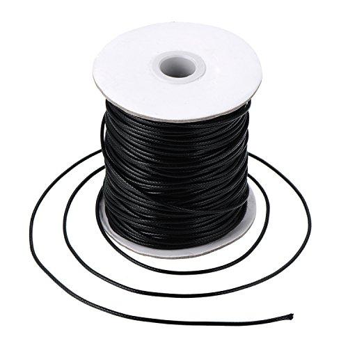 Cuerda Encerada Hilo de Cuero de Imitación Cordón de Cera Trenzado, Negro (80 Metros, 2 mm de Diámetro)