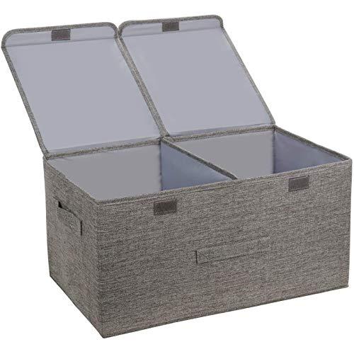 JIAHU Große Aufbewahrungsboxen mit Deckel, faltbar, Stoffbox, Griffe, 40 l, Organizer, Grau, 1 Stück