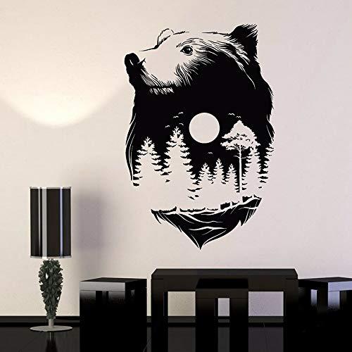 Calcomanía de pared con cabeza de oso Animal Luna Llena Naturaleza Bosque Medianoche Vinilo Fondo extraíble Adhesivo Mural 57x85cm