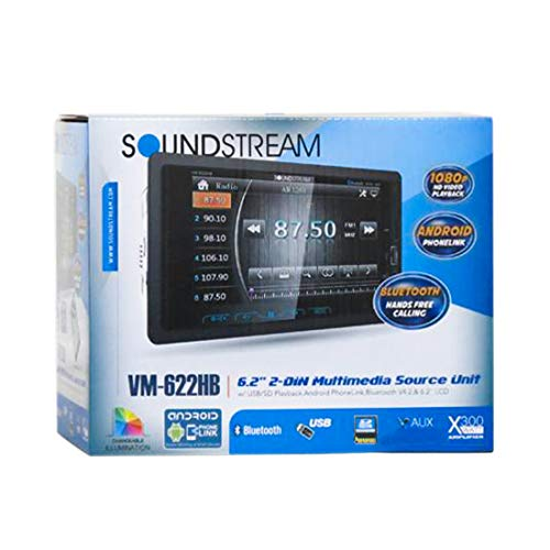 "Soundstream VM-622HB Digital Media Receiver / 6.2"", 2-DIN, with Bluetooth 4.0 & MHL Android PhoneLink, A2DP Wireless MP3 Audio Playback, Rear Audio/Video Input, Rear View Camera Input"