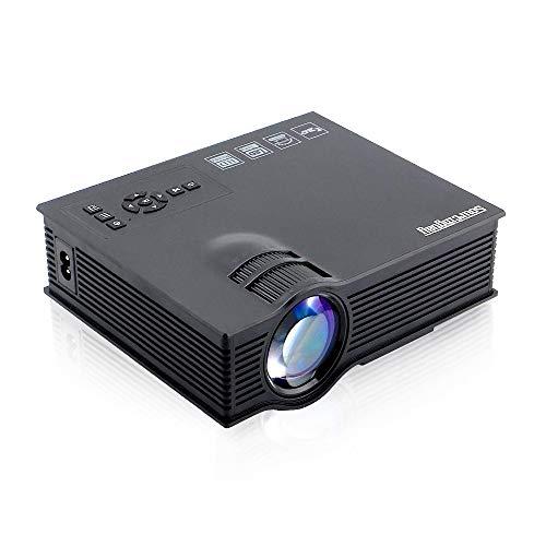 Anbel UC40 LED beweglicher Projektor, 1200 Lumen Mini Home Theater Unterstützung PC/Laptop/TV Box und mehr, mit HDMI/TV/VGA/AV/USB/SD-Schnittstelle 800 * 481 Resolution-Schwarz