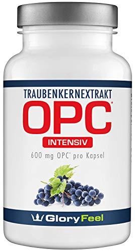 GloryFeel® OPC Traubenkernextrakt Intensiv 600mg - 60 vegane Kapseln - 95% OPC Gehalt aus Original französischen Weintrauben + Vitamin C - Laborgeprüft ohne Zusätze hergestellt in Deutschland