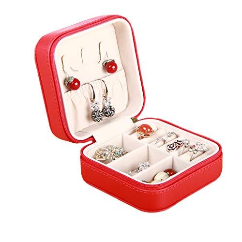WSGZH Boîte À Bijoux Boîte De Rangement Boucles d'oreilles Boîte De Bague Petit Multi-Fonction Bijoux Boîte De Finition (Color : Black, Size : 10.5 * 10.5 * 5.5CM)