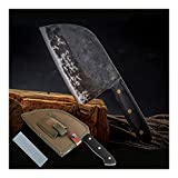 Küchenmesser, Chefmesser - professionelle Köche Messer - Hohe Carbon Edelstahl Handschmieden - ultrascharfe Kochmesser - Messer + Messerbezug + Messer Stein (Size : Knife+knife cover+knife stone)