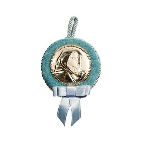 Capoculaire avec médaillon en argent Sainte Vierge et enfant couleur bleu ciel