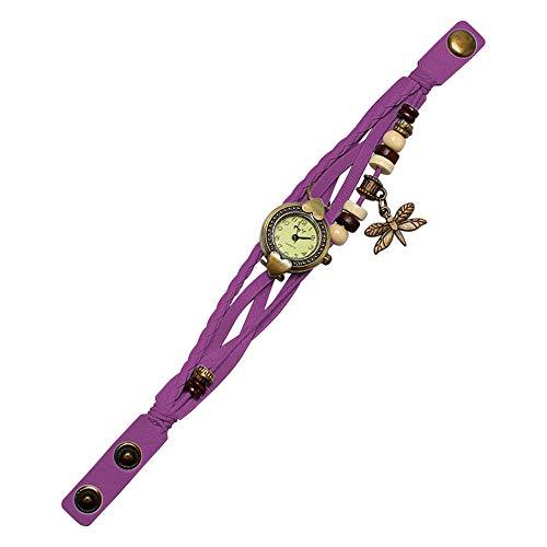 DJxqJ Relojes Reloj Antiguo de Pulsera de Mujer con libélula Anillo de Mano Reloj de Pulsera Regalo de cumpleaños