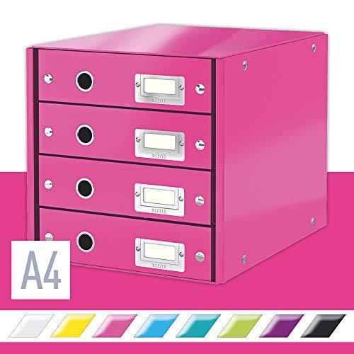 Leitz, Schubladenbox, Pink, 4 Schubladen, A4, Click & Store, 60490023
