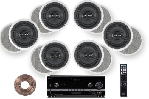 Sony HD Digital Cinematic Sound 735 Watts 7.1 Channel 3D A/V Receiver + Yamaha Natural Sound Custom Install in-Ceiling 3-Way 100 watts Speaker (Set of 6)