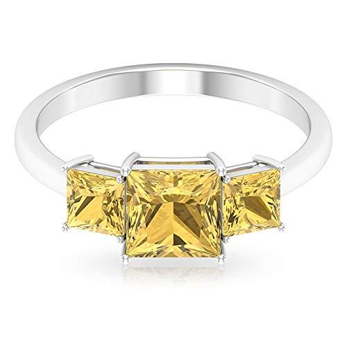 Anillo de boda de oro citrino certificado SGL de 1,41 ct, anillo de compromiso con piedras preciosas de corte princesa, anillo de compromiso para mujer, 14K Oro blanco, Size:EU 55