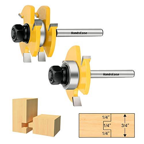 2Pcs Tongue and Groove Set,HandsEase Router Bit Set 3 Teeth T Shape Wood Door Flooring, 1/4 Inch Shank Wood Milling Cutter Woodworking Tool