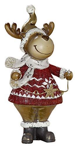 dekojohnson Decorative Figurine Funny Elk with Star Christmas Decoration Deer Reindeer Deer Bambi Red Gold Beige 11 x 21 cm Large Standing