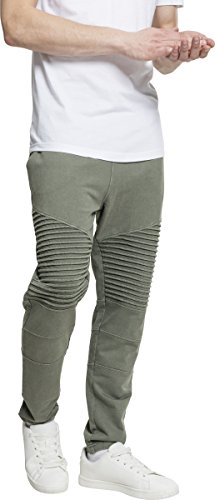 Urban Classics Herren Acid Wash Biker Terry Pants Sporthose, Grün (Olive 00176), W32 (M)