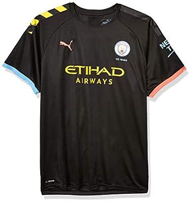 PUMA Men's Standard Manchester City MCFC Shirt Replica with Sponsor Logo, Away Black-Georgia Peach, L