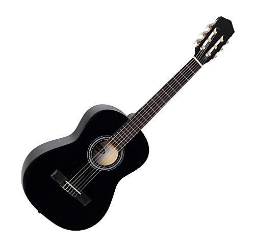 Calida Benita 3/4 Konzertgitarre Schwarz (Akustikgitarre mit 18 Bünden, geeignet für Kinder im Alter von 9-11 Jahren, Bundmarkierung, Nylonsaiten, 925mm Gesamtlänge)