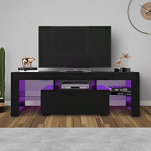 WERSMT LED TV Stand, Black Entertainment Center with Storage and LED...
