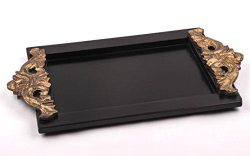 Edles Serviertablett 'Attika' aus Massiv-Holz im Kolonial-Stil, Luxus Holz-Tablett handgefertigt...