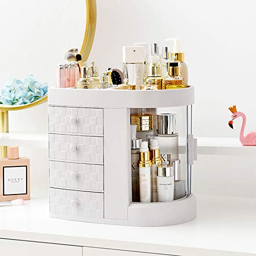 Makeup Organizer Cosmetic Storage Display-Boxes - Modern Jewelry and Skin Care Products Rack with 3 Drawers,Cosmetic Storage for Dresser, Vanity and Countertop