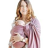 Shabany® - Ring Sling Tragetuch - 100% Bio Baumwolle - Babybauchtrage für Neugeborene Kleinkinder bis 15 KG - inkl. Baby Wrap Carrier Anleitung - violett (plays)