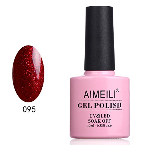 AIMEILI UV LED Gellack Gel Nagellack Rot Glitzer Gel Nail Polish - Heart Break Red (095) 10ml