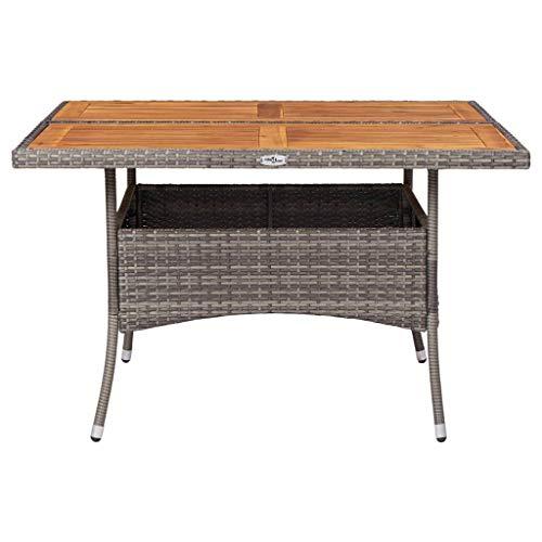 Festnight Tuintafel Tafel, balkontafel, kleine tuintafel gemaakt van rotan kunststof oppervlak, waterdicht, ijzerstabiele tafelpoten poly rattan en massief acaciahout grijs