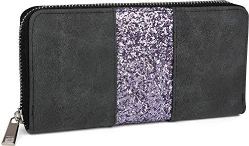 styleBREAKER Geldbörse mit umlaufendem Pailletten Streifen, Reißverschluss, Portemonnaie, Damen 02040056, Farbe:Anthrazit