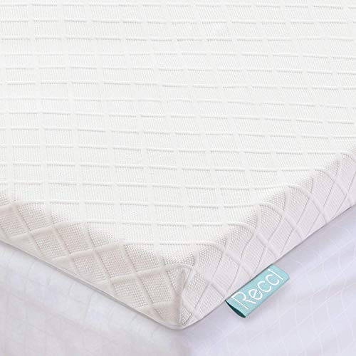 RECCI 3-Inch Queen Mattress Topper, Pressure-Reliving Memory Foam Mattress Topper for Back Pain, with 3-Sided Zipper Bamboo Viscose Cover, Removable and Washable CertiPUR-US (Queen Size)