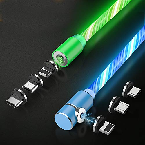 Flowing LED Magnetic Charging Cable.3 in 1 Cable(2 Packs,5 ft) Blue+Green
