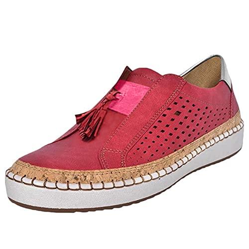 Zapatillas de Lona para Mujer con Espalda Abierta, Ligeras, Transpirables, Bajas, sin Espalda, para Exteriores, sin Espalda, Zapatillas de Deporte (M20_Red,41)