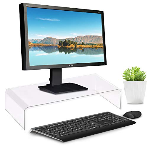 Clear Acrylic Monitor Stand 15x7.1x3.2 Inch, Desktop Computer Monitor Riser Holder, PC Desk Stand for Office Home School, Laptop Riser for Keyboard Storage & Multi-Media Printer TV Screen