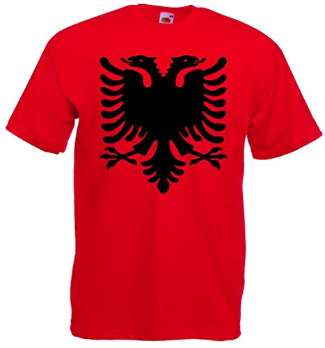 World-of-Shirt Herren T-Shirt Albanien Adler Shirt|rot-S