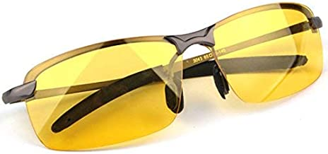 Vison Master HD Night Vision Glasses for Driving Risk Reducing Night Driving Glasses + Case Anti Glare Polarized Sunglasses for Men or Women UV400 Eyes Protection Sport Metal Frame Reinforced Hinges