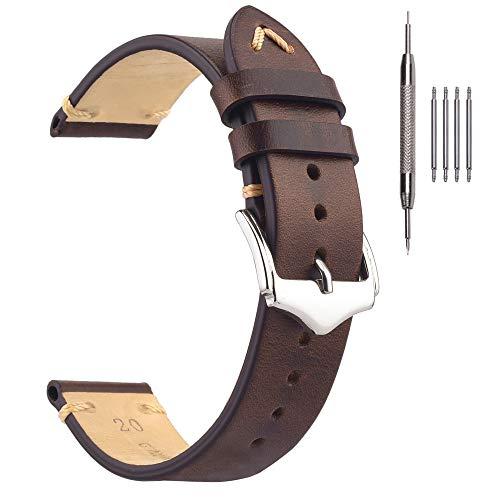 Correas de Reloj para Hombre, EACHE Bandas de Reloj de Cuero con Cera de Aceite Reloj de época Banda de reemplazo Marrón Oscuro 22 mm