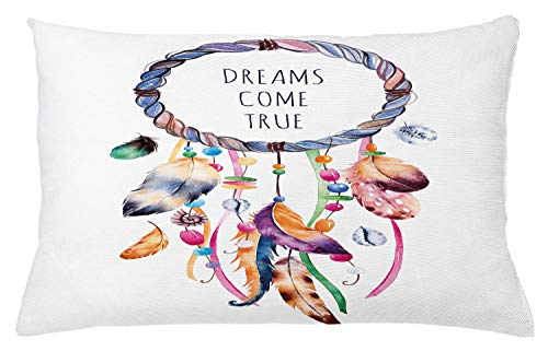 Ambesonne Feather Throw Pillow Cushion Cover, Dream Catcher Illustration Bohemian Style Image, Decorative Rectangle Accent Pillow Case, 26' X 16', White Blue