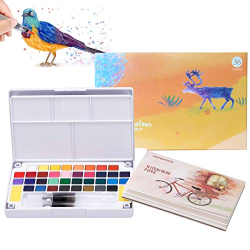 Watercolor Paint Set 36 Solid Colors Travel Pocket Set with 2 Watercolor Brush Pens, 2 Mix Palette, 12 Watercolor Paper for Watercolor Paintings & Cartoons Perfect for Students, Kids, Beginners