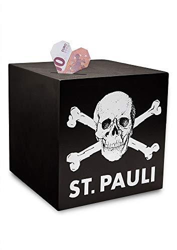 FC St. Pauli Totenkopf Spardose schwarz aus Holz 15x15 cm