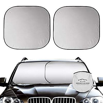 ELUTO Car Windshield Sun Shade 2-Piece Foldable...