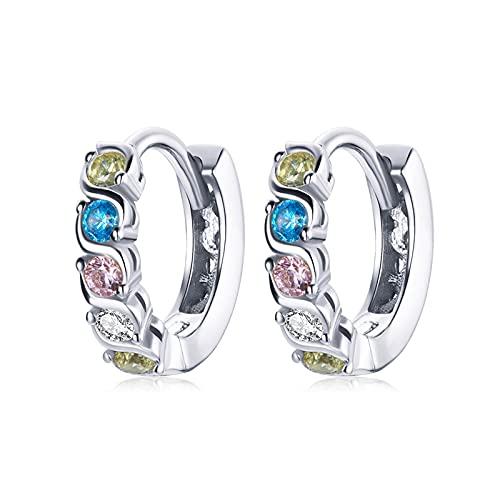 HMMJ Pendientes de aro de Plata para Mujer, joyería hipoalergénica de Plata de Ley 925 galvanizada con circonitas Brillantes SCE1166 (Color : Silver)